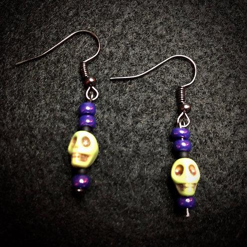 Yellow Scull & Purple Earrings