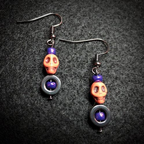 Hematite, Purple & Orange Sculls