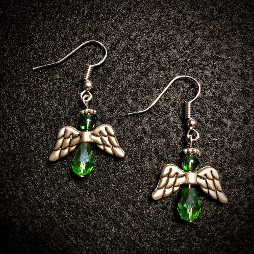 Green Glass & Silver Plate Angels