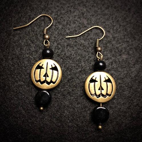 Antique Brass Pumpkins & Black Earrings