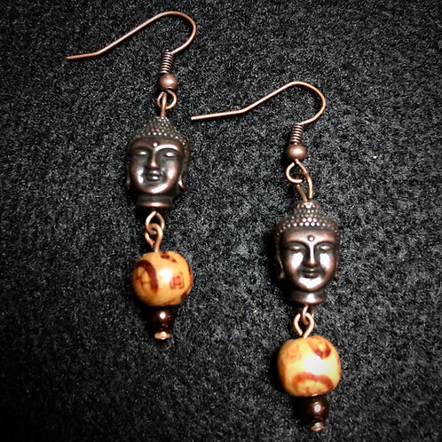 Antique Copper Buddha & Wood