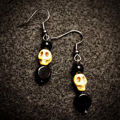 Yellow Scull & Black Earrings