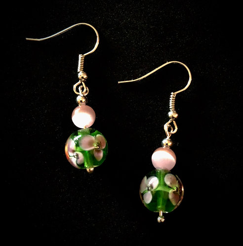 Green & Pink Glass, Natural Stone