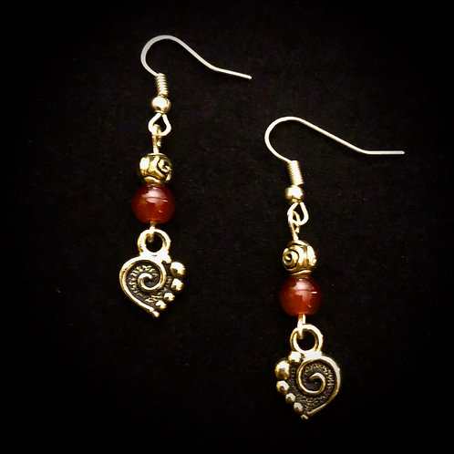 Red Glass  & Antique Brass Hearts