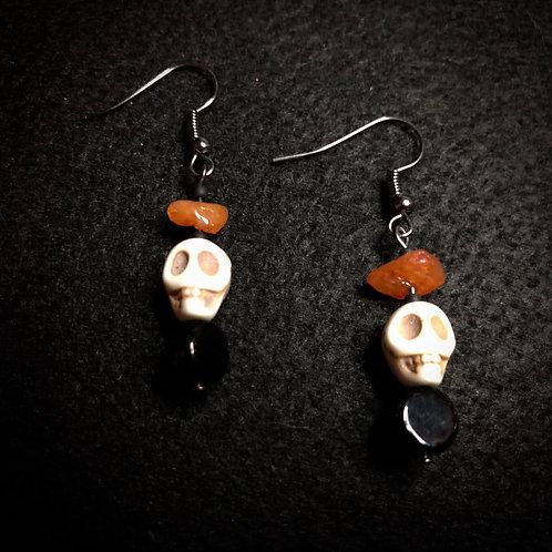 White Scull, Black & Orange Stone Earrings