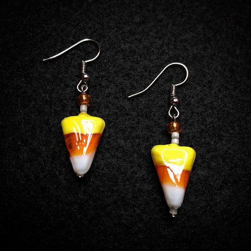 Candy Corn, Orange & White Earrings