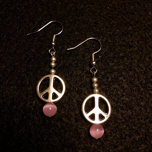 Glass & Silver Plate Peace Sign