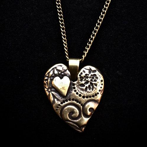 Antique Brass Heart