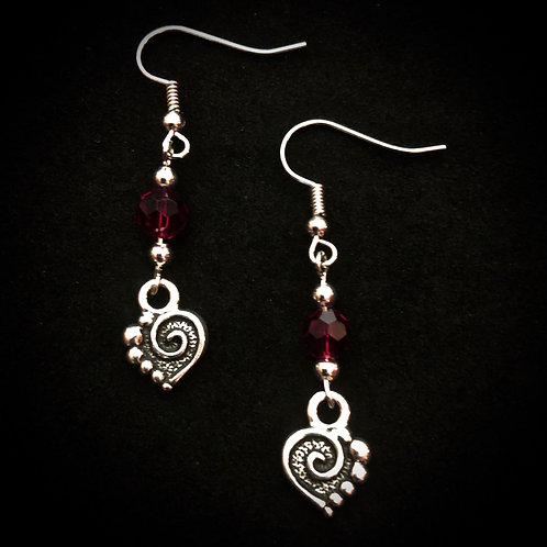 Red Glass & Antique Silver Hearts