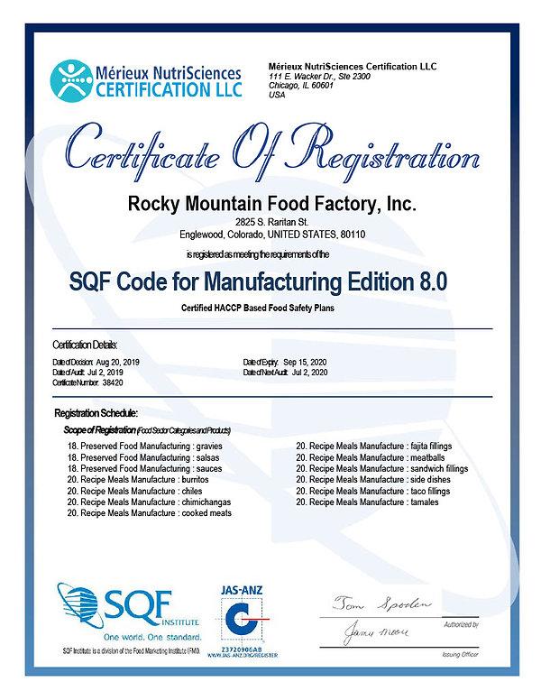 SQF FS Certificate Rocky Mountain Food F