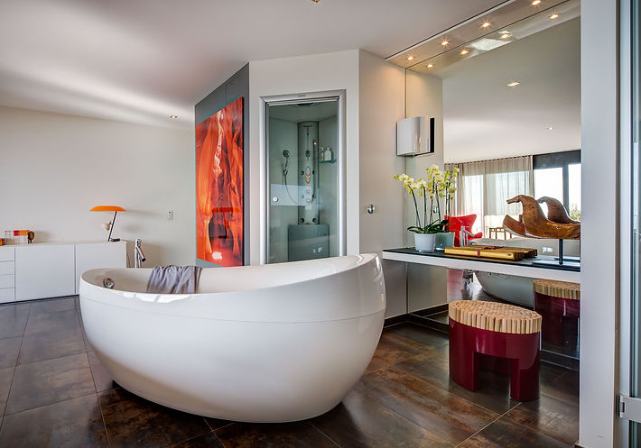 The Master Bedroom and Spa, Flos Desk Lamp, Italian long console table, large digital photograph on wall, steam and shower room, Band & Olufsen speakers and music system, Lake Geneva, Christi Rolland Home Interiors