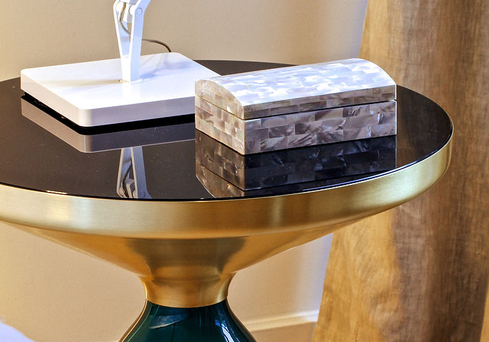 mother-of pearl jewelry box from the Philippines, Flos led Kelvin table lamp, Bell side table in copper and emerald green glass stand by Sebastian Herkner, Trocadero, Paris, Christi Rolland Home Interiors