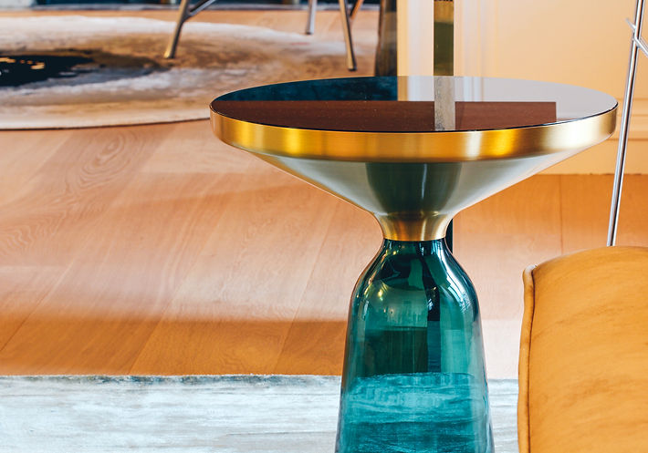 The Main Room, Sebastian Herkner's BELL side table in brass frame and emerald green glass stand, Trocadero, Paris, Christi Rolland Home Interiors