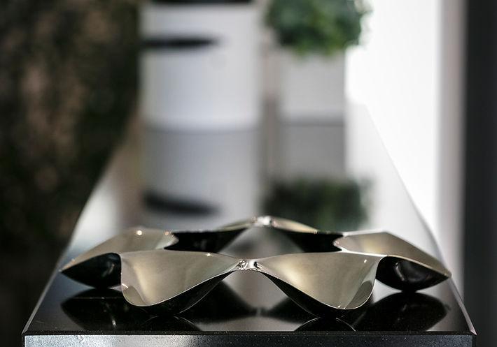 The Open Kitchen, Alessi chocolate tray on granite kitchen top, Lake Geneva, Christi Rolland Home Interiors