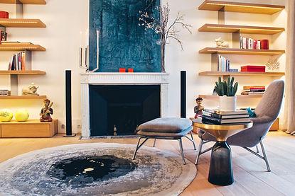 Small living room with Christofle candelabra, Sahrai designer carpet, Silvera furniture, Trocadero, Paris, Christi Rolland Home Interiors