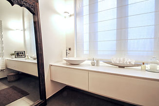 White Modern Corian surface and sink bathroom with antique Thai full-length mirror, Trocadero, Paris, Christi Rolland Home Interiors