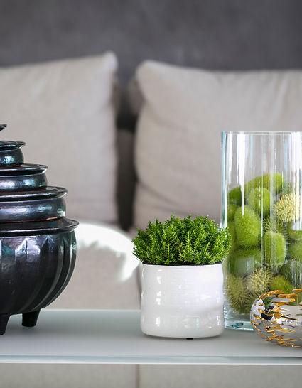 Interior Design Details, Black Vase and Golden Bowl with Plants, Lake Geneva, Switzerland, Christi Rolland Home Interiors