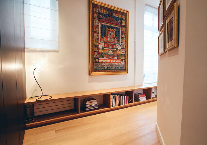 Parental suite hallway, oakwood wax finsolid oakwood shelving, Oscar Ono parquet flooring, Laurent Beyne crystal lamp, linen blinds by Rue Herold, Krishna painting on silk fabric, India Trocadero, Paris, Christi Rolland Home Interiors