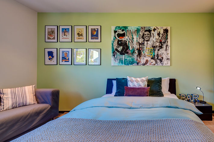 The Boy's Chillout Room, personlized painting and decoupage by artist Caroline Grimal, IKEA sofa, cushions and beddings by Pfister, Lake Geneva, Christi Rolland Home Interiors