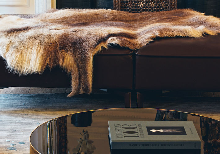 Lignet Roset STRICTO SENSU leather pouf, antique Indian stone jali, BENSON by Minotti coffee table, FLAKE Noor Collection carpet by Sahrai Milano, Finland reindeer skin throw Trocadero, Paris, Christi Rolland Home Interiors