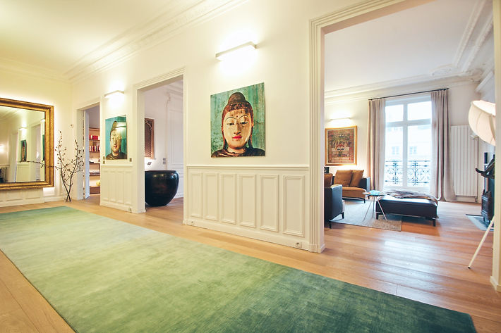The Gallery,Davide Groppi ECO 80 wall lamps with Thai buddhas digital photo prints, Paris, Trocadero, Christi Rolland Home Interiors