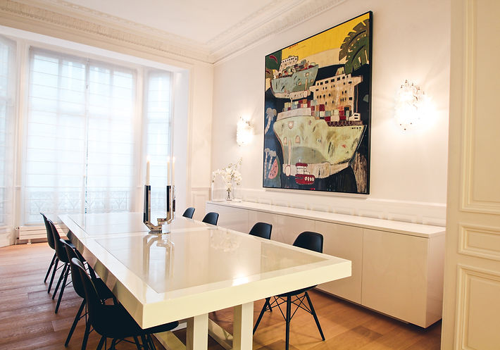 The Dining Room, ARBORESCENCE Christofle candelabra, Rob Tucker's Oil and Resin on board, 1950 Venini wall lamps by Carlos Scorfa, Charles Eames Cairo chairs by VITRA, dual dining table in solid oak and marble composite table top in collaboration with Anu Sukh Lalvani, made-to-measure console table, Paris, Trocadero, Christi Rolland Home Interiors
