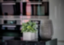 The Open Kitchen, Miele kitchen appliances in the background, objects composition on kitchen counter top, Lake Geneva, Christi Rolland Home Interiors