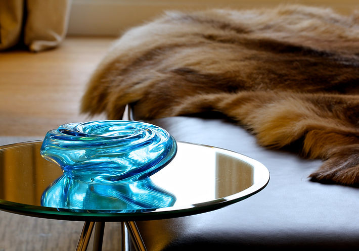 The Main Room, side table by Habitat, blue crystal candle holder, Paris, Trocadero, Christi Rolland Home Interiors