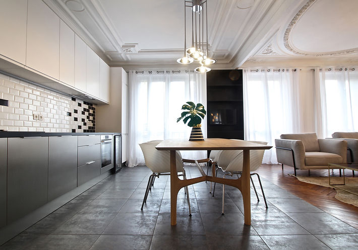 Monceau Paris Project Portfolio Christi Rolland Home Interiors Apartment Renovation Kitchen Dining Room