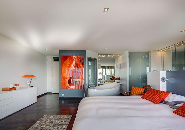Master Bedroom and Spa, Toulemonde Bochart runner rug, Flos bedside lamps, Good Earth silk cushions, Yves Delorme beddings, Lake Geneva, Christi Rolland Home Interiors