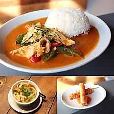 Panang chicken with steam jasmine rice