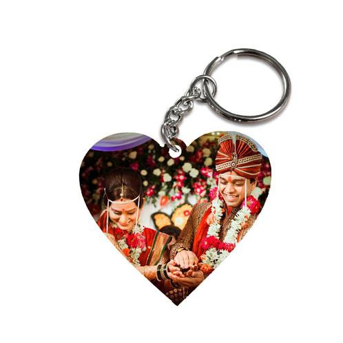 heart shaped key chain with dual side print