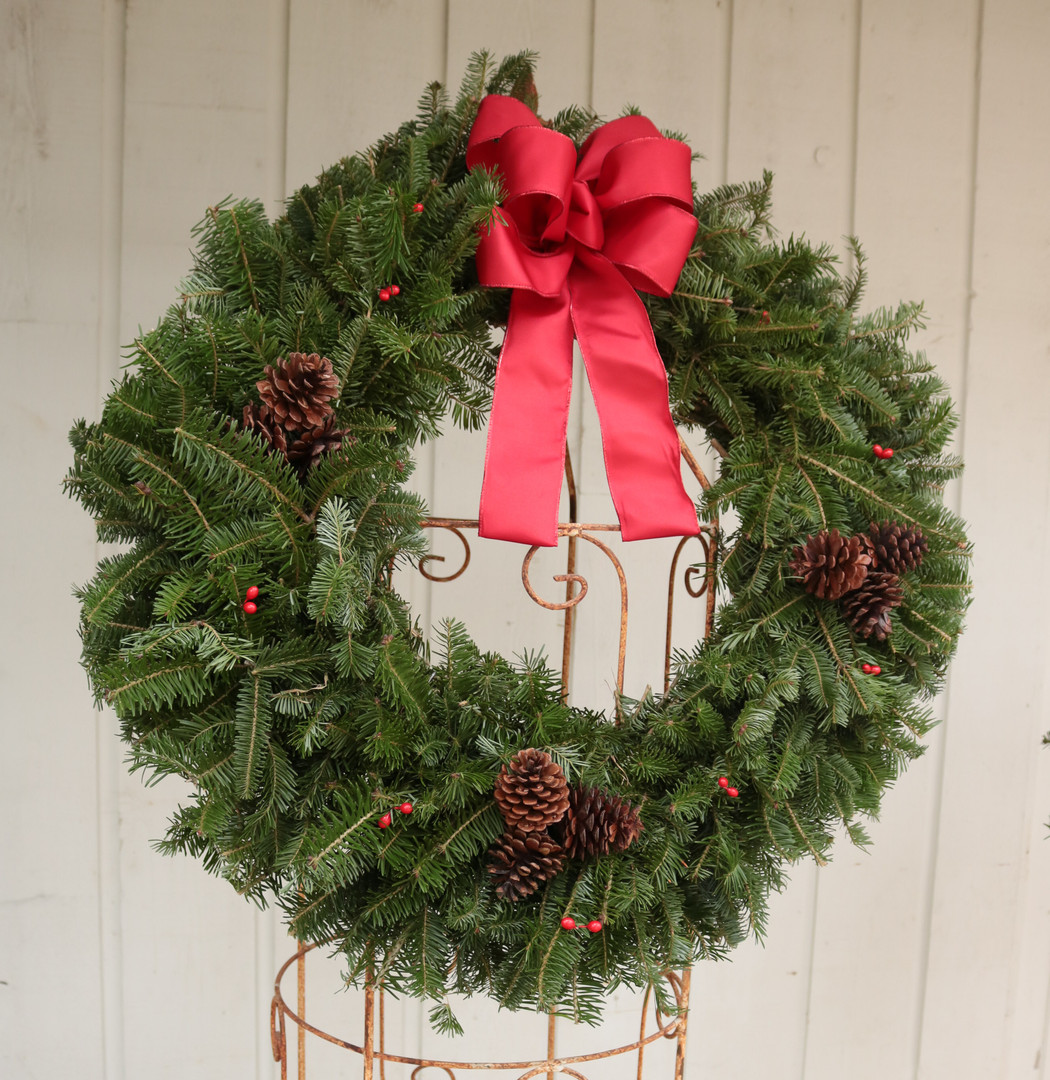 """Fir Wreath *decorated with bowFir Wreath *decorated with bowFir Wreath *decorated with bowFir Wreath *decorated with bow 16"""""""