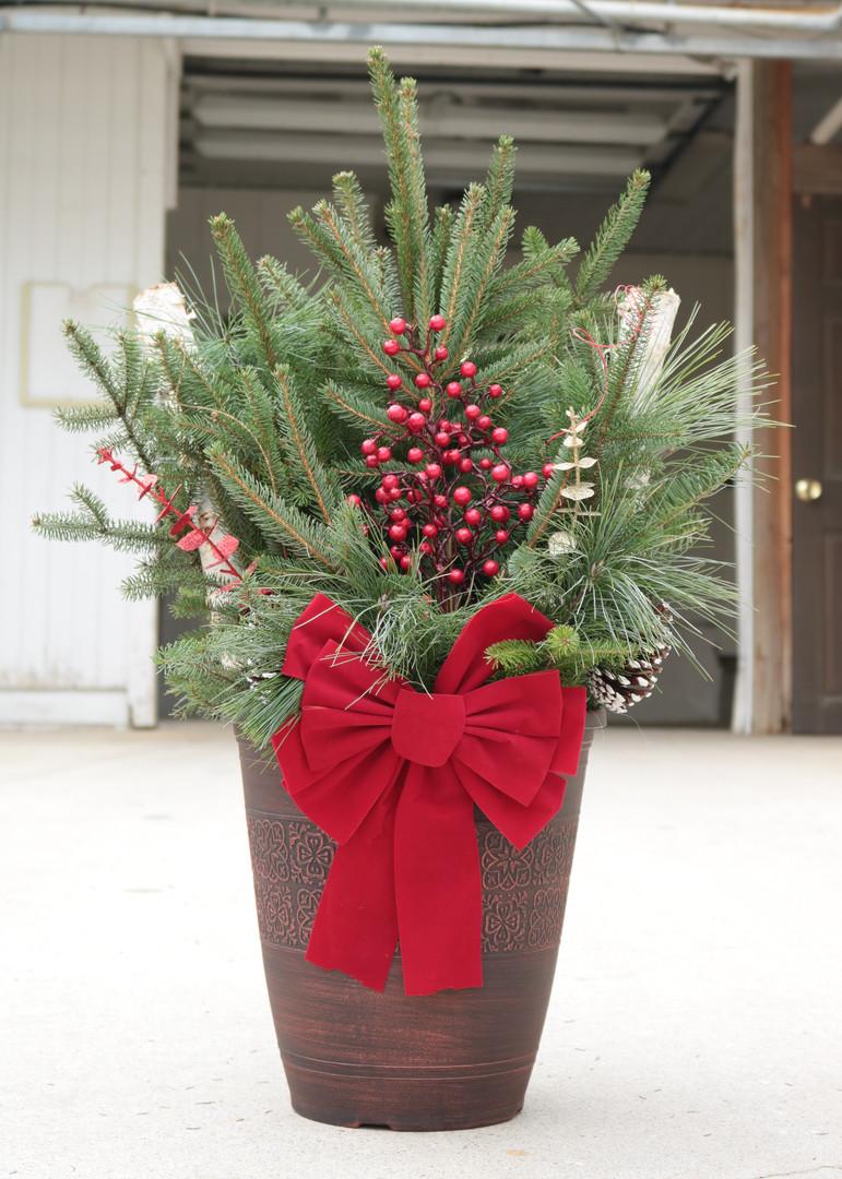 "Evergreen Combo Patio Pot decorated 13"" Patio"