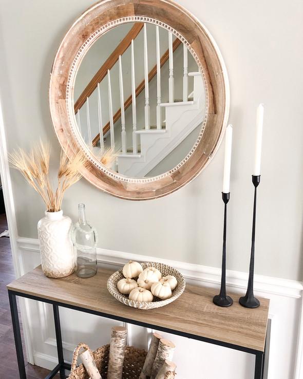 Create a neutral fall entryway