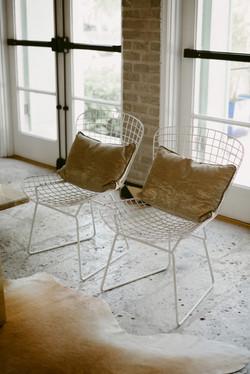 White Wire Bertoia Chairs