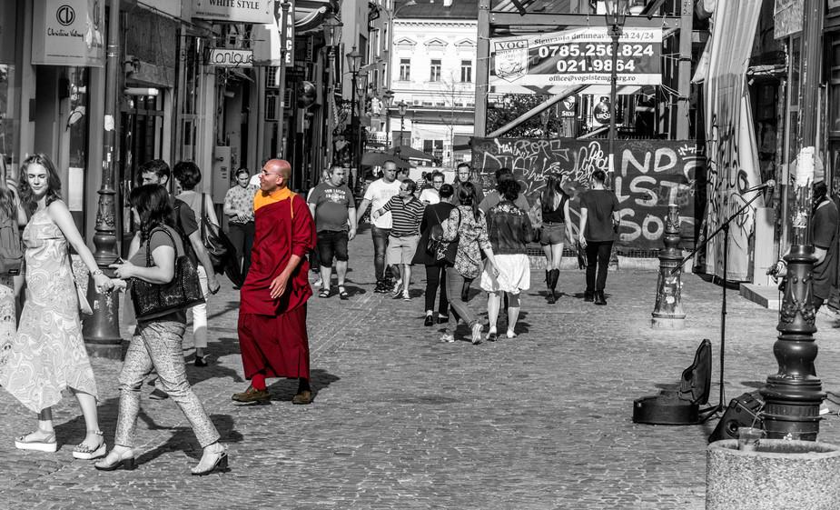 A Buddhist monk in Bucharest