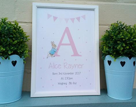 Peter Rabbit Personalised Print