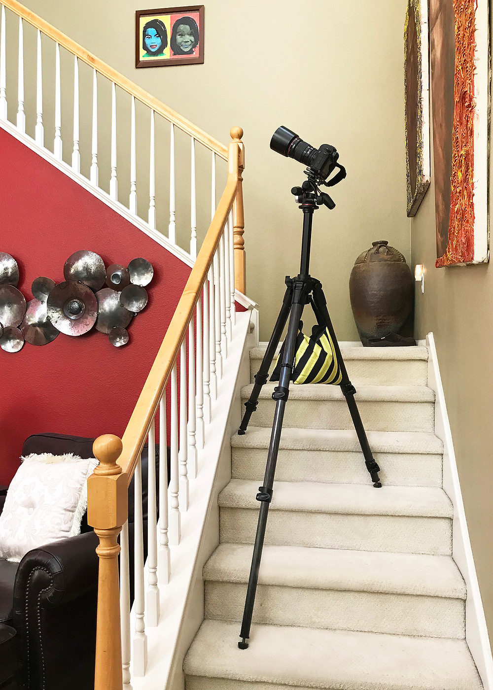 manfrotto 057 carbon fiber tripod on stairs