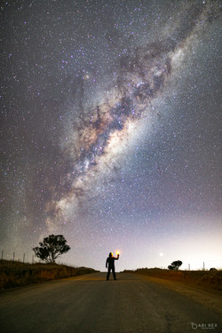 Milky Way and Planet Mars