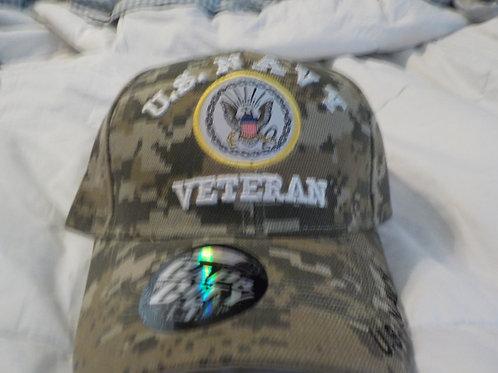 Navy Veteran Cap, white letters