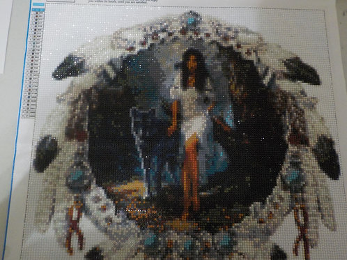 Mosaic Diamond art  Indian woman, wolf and dream catcher