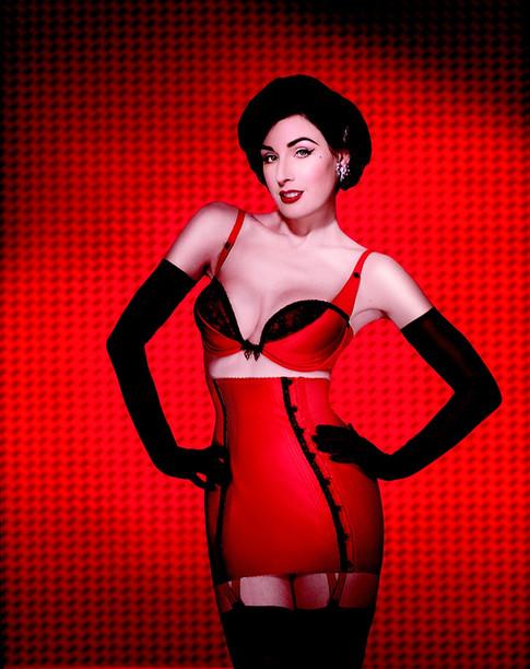 Carmen in red lingerie