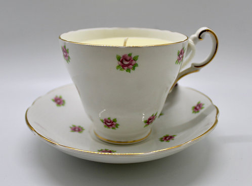 Roses and Cream Vintage Teacup Candle