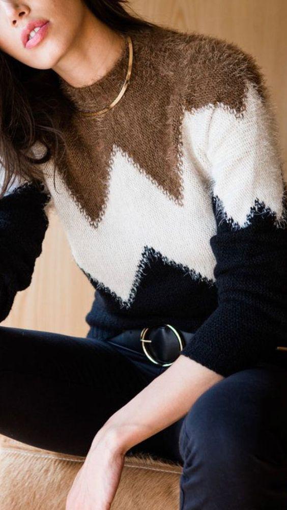rombo diamantes jersey abrigo invierno otoño sueter estampado preppy moda fashion tendencia trend trendy fashionista revista magazine panama outfit look fashionista vestimenta ropa femenina mujeres