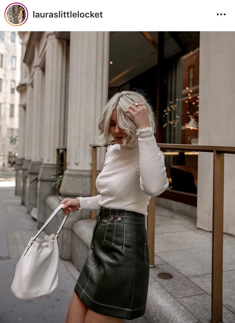 falda de cuero leather skirt maxiskirt minifalda fashion moda tendencia trend revista magazine outfit inspo blogger must have ropa femenina mujeres fashionista