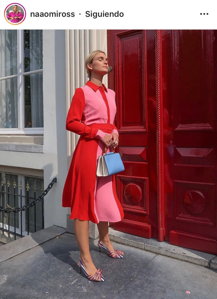 combinacion de colores color match street style fucsia rosa rosa palido rosado rojo red pink fashion lover fashionista moda fashion tendencias trend revista magazine