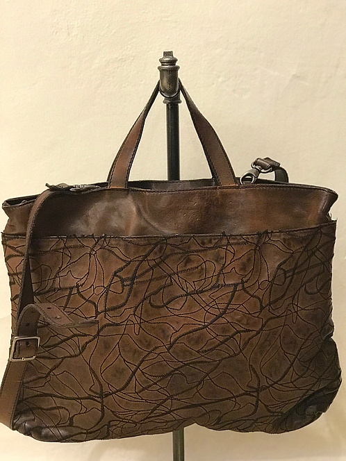 NUMERO10 BROWN TEXTURED LEATHER BAG