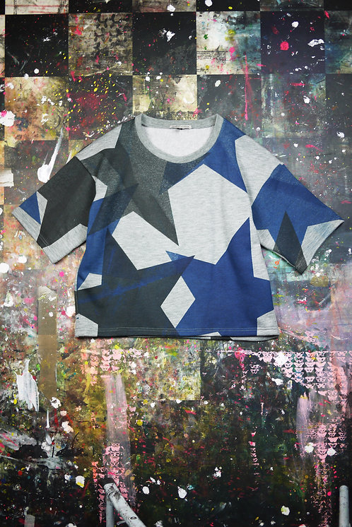 SWEATSHIRT TOP BIG STARS BLACK/NAVY SIMEON FARRAR ISRAEL