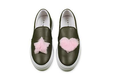 Joshua Sanders Leather shoes Pink heart and star mink fur Tel-Aviv Thegate24
